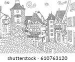 coloring for adult with... | Shutterstock .eps vector #610763120