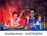 funny little children doing... | Shutterstock . vector #610763654