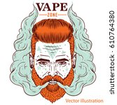 a young bearded hipster in a... | Shutterstock .eps vector #610764380