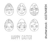 collection of easter eggs with... | Shutterstock .eps vector #610764854