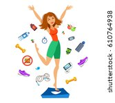 sporty young woman jumping on...   Shutterstock .eps vector #610764938