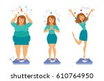 fat and slim girls. sadly thick ... | Shutterstock .eps vector #610764950