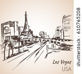 Stock vector las vegas cityscape sketch isolated on white background 610765208