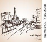 las vegas cityscape sketch.... | Shutterstock .eps vector #610765208