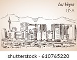 Stock vector las vegas cityscape sketch isolated on white background 610765220