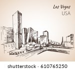 Stock vector las vegas cityscape sketch isolated on white background 610765250