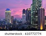 sunset over jakarta south...   Shutterstock . vector #610772774
