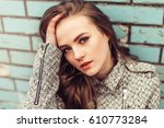 close up portrait of a young... | Shutterstock . vector #610773284