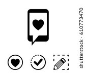 phone with hearts on the screen ... | Shutterstock .eps vector #610773470