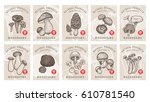 labels with mushrooms. set... | Shutterstock .eps vector #610781540