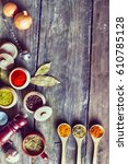spices and herbs. | Shutterstock . vector #610785128