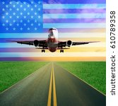 one passenger airplane takes... | Shutterstock . vector #610789358