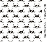 pattern with cute cats with... | Shutterstock .eps vector #610789928
