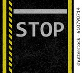 black asphalt with yellow lines ... | Shutterstock .eps vector #610790714