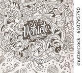 cartoon cute doodles hand drawn ... | Shutterstock .eps vector #610795790