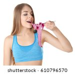 diet concept. young beautiful... | Shutterstock . vector #610796570
