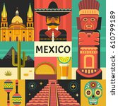mexico travel poster concept.... | Shutterstock .eps vector #610799189