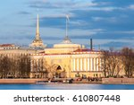 Small photo of Admiralty Embankment. The Admiralty building in St. Petersburg, Russia