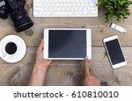 top view responsive design hero ... | Shutterstock . vector #610810010