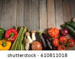fresh asparagus and other... | Shutterstock . vector #610811018