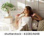good morning  young beautiful... | Shutterstock . vector #610814648