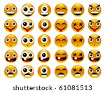 a set of yellow smileys. | Shutterstock .eps vector #61081513