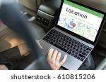 map gps location direction... | Shutterstock . vector #610815206