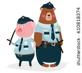 bear  pig  policeman  character ...   Shutterstock .eps vector #610818374