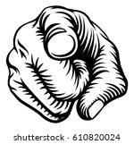 a hand pointing a finger in a... | Shutterstock .eps vector #610820024