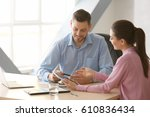 young managers discussing... | Shutterstock . vector #610836434