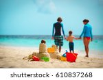 sand castle on tropical beach ... | Shutterstock . vector #610837268