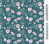 seamless floral pattern with... | Shutterstock . vector #610845854