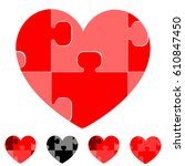 heart and hearts with red grey... | Shutterstock .eps vector #610847450