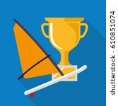 wind surfing board and gold cup ... | Shutterstock .eps vector #610851074