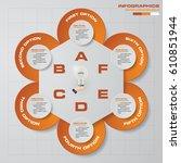 abstract 6 steps presentation... | Shutterstock .eps vector #610851944