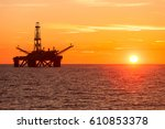 offshore jack up rig in the... | Shutterstock . vector #610853378