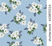 seamless cute pattern with... | Shutterstock .eps vector #610855214