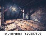 Small photo of old garret, attic loft / roof construction