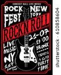 rock poster tee graphic | Shutterstock .eps vector #610858604