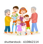 fun cartoon family in colorful... | Shutterstock .eps vector #610862114