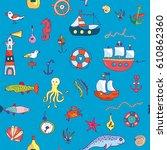 marine life seamless pattern... | Shutterstock .eps vector #610862360