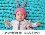 Cute Little Baby In Bunny Hat...