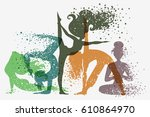 fitness background with woman... | Shutterstock .eps vector #610864970