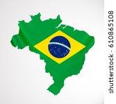 hanging brazil flag in form of...   Shutterstock .eps vector #610865108
