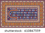 colorful oriental mosaic rug... | Shutterstock .eps vector #610867559