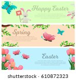 spring and happy easter web... | Shutterstock .eps vector #610872323