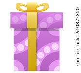 happy easter gift box isolated... | Shutterstock .eps vector #610872350