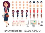 businesswoman constructor... | Shutterstock .eps vector #610872470
