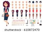 businesswoman constructor... | Shutterstock .eps vector #610872470