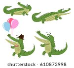 Cute Cartoon Crocodiles In...